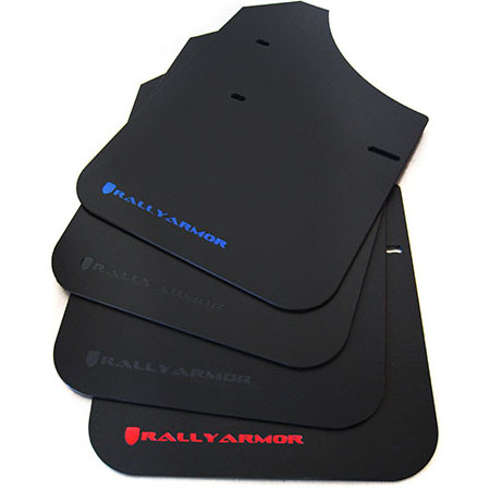 Rally Armor Classic Mud Flaps Black with blue logo MF1-BL