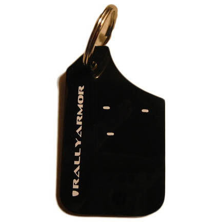Rally Armor Mud Flap Key Chain Keychain Black w// White Lettering RA-KYCHN-BLK//WH